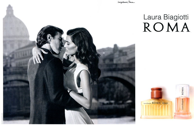 2012 LAURA BIAGIOTTI Roma - Roma Uomo fragrances: Italy spread featuring Davinia Pelegrí & Oriol Elcacho (Location: Lungotevere)