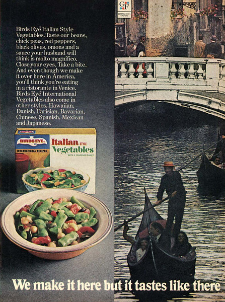 1971 BIRD'S EYE Italian style vegetables US