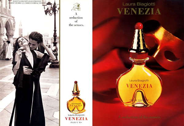 1992 LAURA BIAGIOTTI Venezia fragrance US (recto-verso with scent strip)