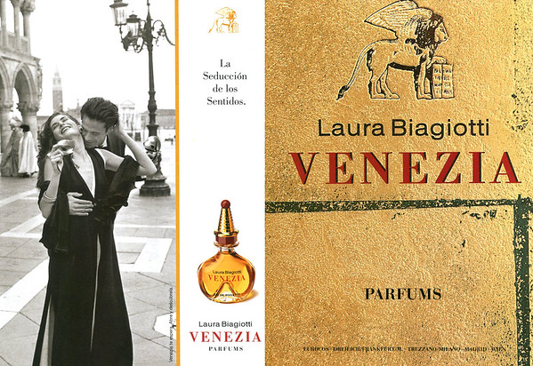 1992 LAURA BIAGIOTTI Venezia Spain (recto-verso with scent strip)