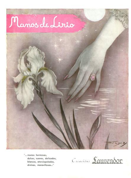 1950 circa LAURENDOR Manos de Lirio hand cream Spain