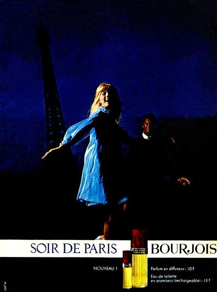 BOURJOIS Soir de Paris scented powder 1959 France half page 'Fine, adhérente, légère, légère...'