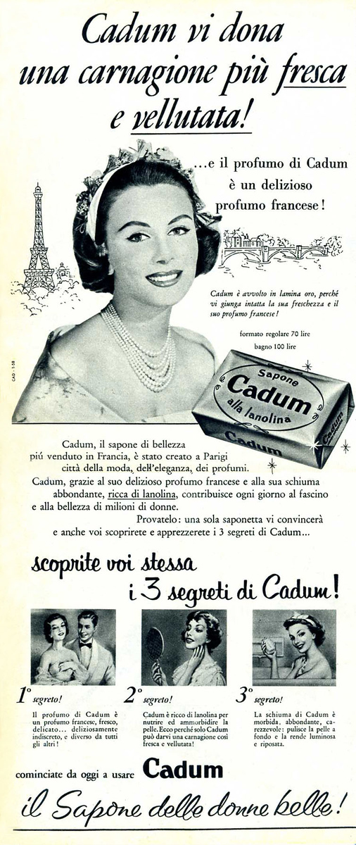 1958 CADUM soap: Italy (half page)