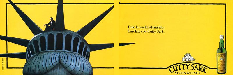 1989 CUTTY SARK whisky Spain (Viajar) haf page spread