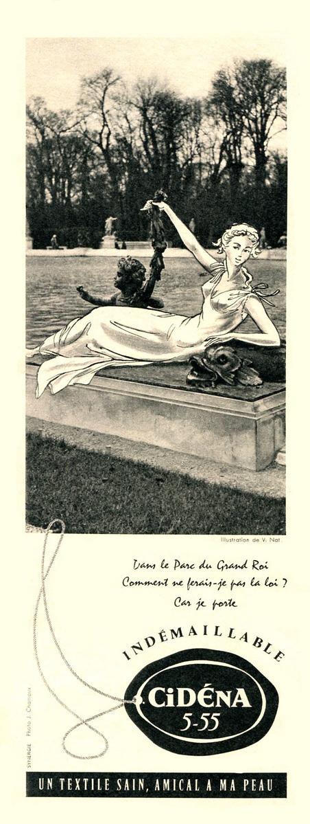 1957 CIDÉNA lingerie France (half page Elle)