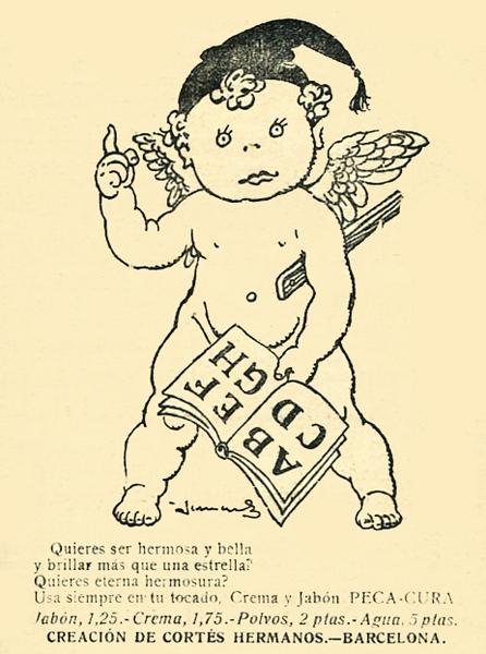 1917  HERMANOS CORTÉS Peca-Cura cologne Spain (Mundo Gráfico) small format