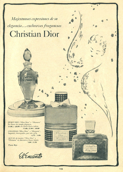 CHRISTIAN DIOR Diverse (Miss Dior - Diorama) 1959 Cuba (El Encanto stores) 'Majestuosas expresiones de su elegancia - exclusivas fragancias'