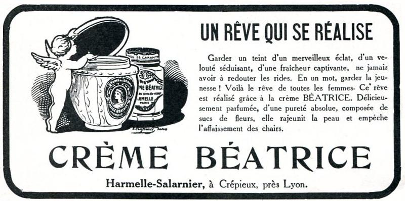 1926 BÉATRICE CRÈME cream France (L'Illustration Française) small format