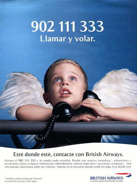 1998 BRITISH AIRWAYS: Spain (La Vanguardia Magazine) SLOGAN: 'Call and fly'