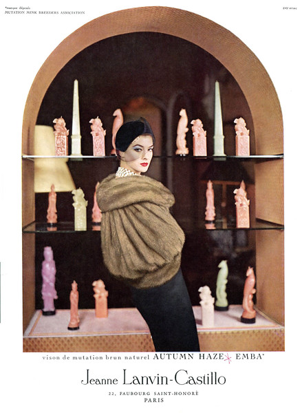 1950s JEANNE LANVIN-CASTILLO furs France (Vogue)