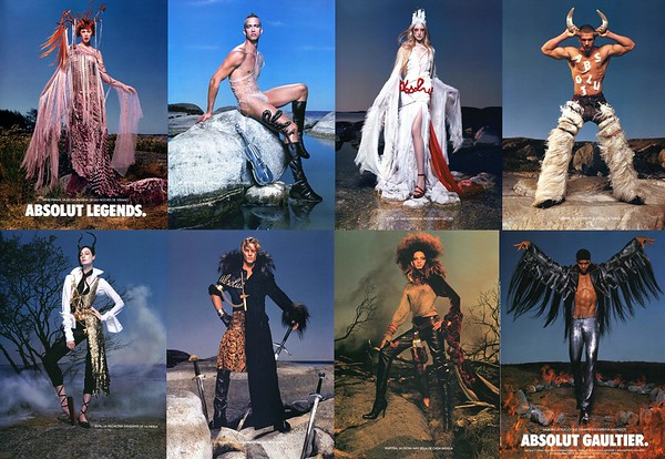 2002 ABSOLUT Legends/Gaultier vodka Spain - Vogue 8 pages (4 recto-verso)  by Jean-Baptiste Mondino