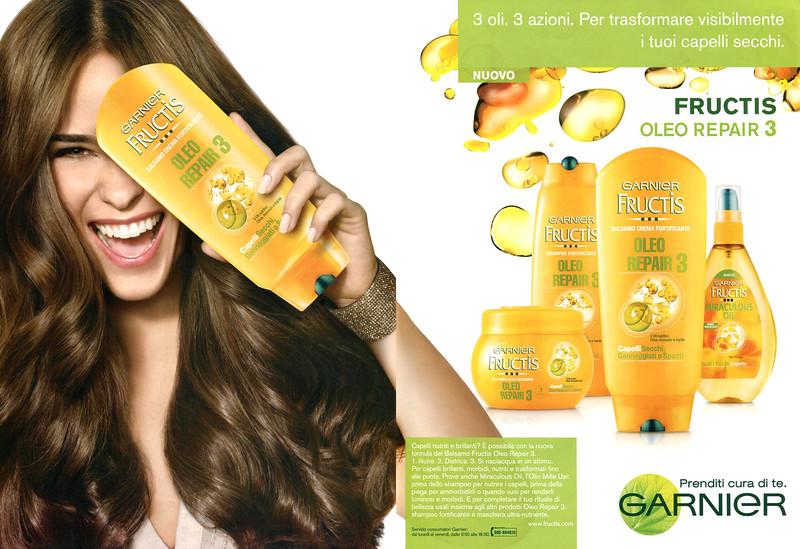 2013 GARNIER Frusctis Oleo Repair hair treatment Italy (spread Vanity Fair) one eye illuminati