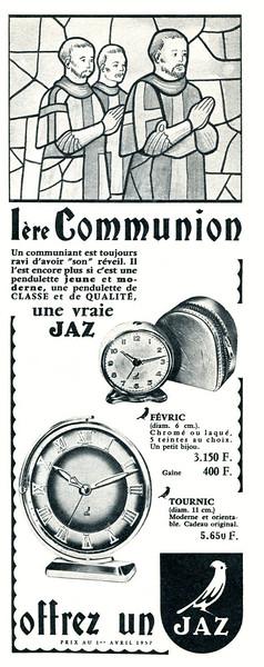 1957 JAZ timepieces France (half page Elle)