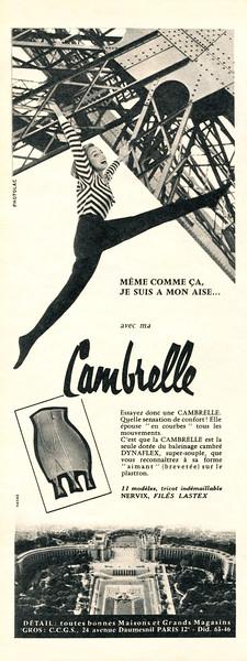 1957 CAMBRELLE girdles France (half page Elle)