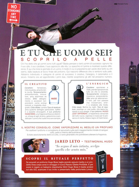 2011 BOSS colognes (Hugo - Hugo Just Different) Italy (GQ) featuring Jared Leto