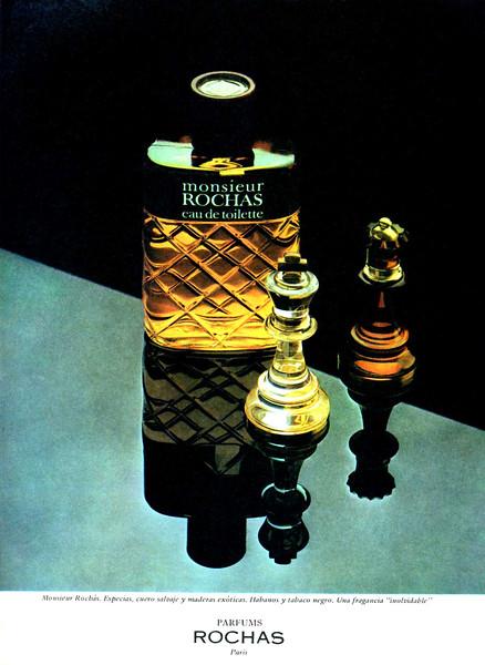ROCHAS Monsieur Rochas 1977-1979 Spain 'Monsieur Rochás. Especias, cuero salvaje y maderas exóticas. Habanos y tabaco negro. Una fragancia 'inolvidable''