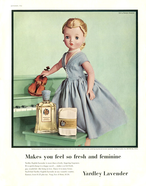 YARDLEY Lavender 1953 US 'Makes you feel so fresh and feminine!'