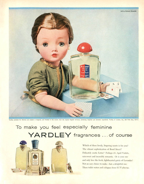 YARDLEY Diverse 1957 US 'To make you feel especially feminine - Yardley fragrances - of course'