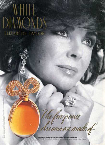 1992 ELIZABETH TAYLOR White Diamonds fragrance: US 'The fragrance diamonds are made of'