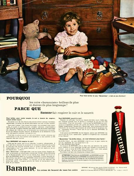 1964 BARANNE shoe polish France (Marie Claire)