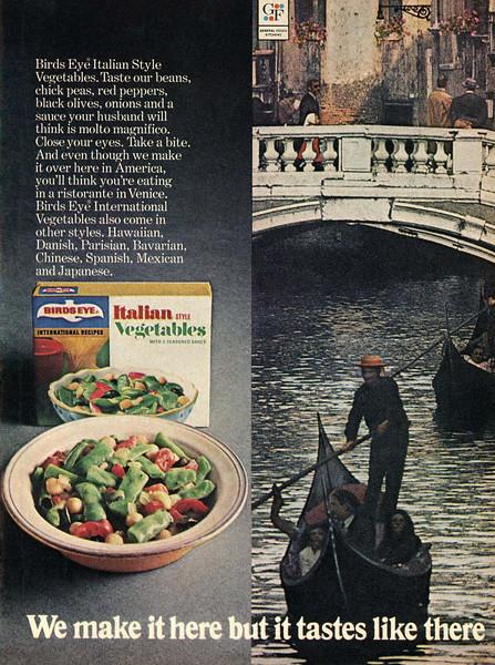 1971 BIRD'S EYE Italian style vegetables US