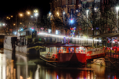 Night restaurants on big boats, river Ill in Strasbourg