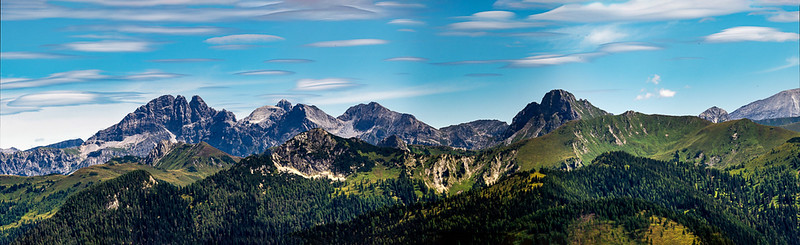 Stunning alpine scenery in Austria, near the village of Grossarl. Panoramic view. A high resolution.