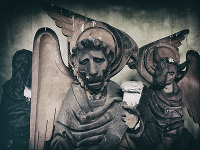 Sculptures on religious themes, artfully carved from stone many years ago.