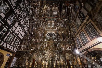 Cathedral of Our Lady of Strasbourg double exposed night view, Alsace, France