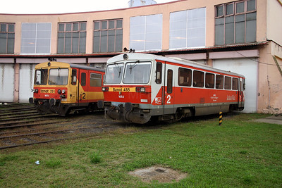 Bzmot 418 at Dombovar Depot on 30th September 2004