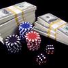 Hundred Dollar Bills, Red Dice & Poker Chips