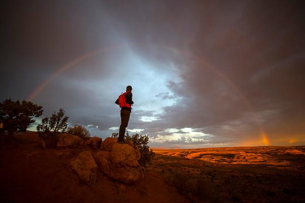 A rainbow in the Utah desert.