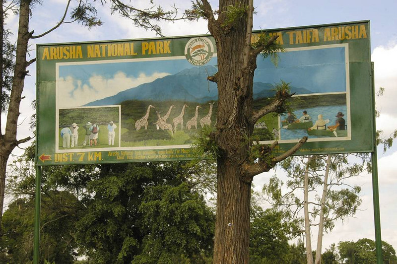 x_02 sign for Arusha National Park