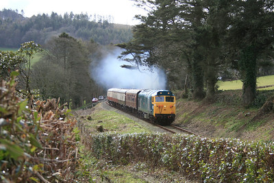 """-- 2009 -- """"Hoover"""" #50042, """"Triumph""""; lays a smoke-screen across the Cornish countryside as she climbs past Charlies Gate with the 11:10 from Bodmin Parkway to Bodmin General during a Spring Diesel Gala held at the Bodmin & Wenford Railway."""