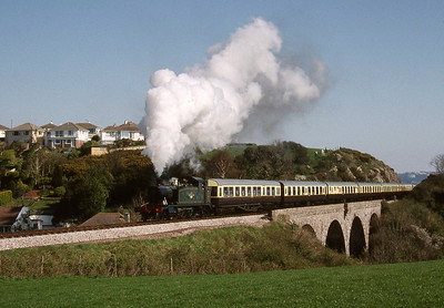 """-- 1997 -- On a cold sunny morning  Swindon built """"Small Prairie"""" #4588 leads the 10:30 departure from Paignton to Kingswear across Broadsands Viaduct."""