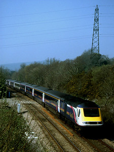 """-- 2002 -- """"White Faced"""" First Great Western HST power car #43003 heads east away from Marley Tunnel, at the top of Rattery Bank; working the 09:42 service from Penzance to London Paddington."""
