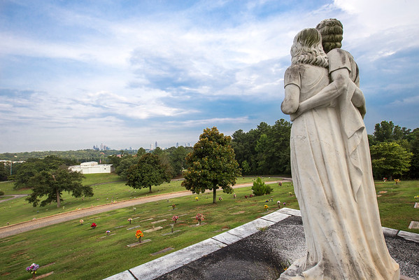 Crest Lawn Memorial Park is an 145 acre cemetery located on Marietta Blvd. NW in Atlanta.  It was established as a public burial place in 1916.  The cemetery features rolling hills, a large mausoleum and beautiful skyline views of the city.