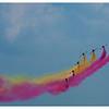 La Patrulla Águila est l'escadrille de vol acrobatique de l'armée de l'air espagnole (Ejército del Aire) qui se compose de sept avions CASA C-101<br /> Les trainées de fumée sont aux couleurs de l'Espagne.<br /> Sur la Base 112 de Reims, le 28 juin 2009, lors du Meeting du Centenaire, une manifestation aérienne « historique » organisée pour commémorer les cent ans de la Grande Semaine d'Aviation de la Champagne, premier meeting international d'aviation de l'histoire