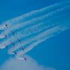 Patrouille acrobatique de la RAF (Red Arrows). Elle est équipée de Jets d'entrainement BAe Hawk T.Mk1.<br /> Sur la Base 112 de Reims, le 28 juin 2009, lors du Meeting du Centenaire, une manifestation aérienne « historique » organisée pour commémorer les cent ans de la Grande Semaine d'Aviation de la Champagne, premier meeting international d'aviation de l'histoire
