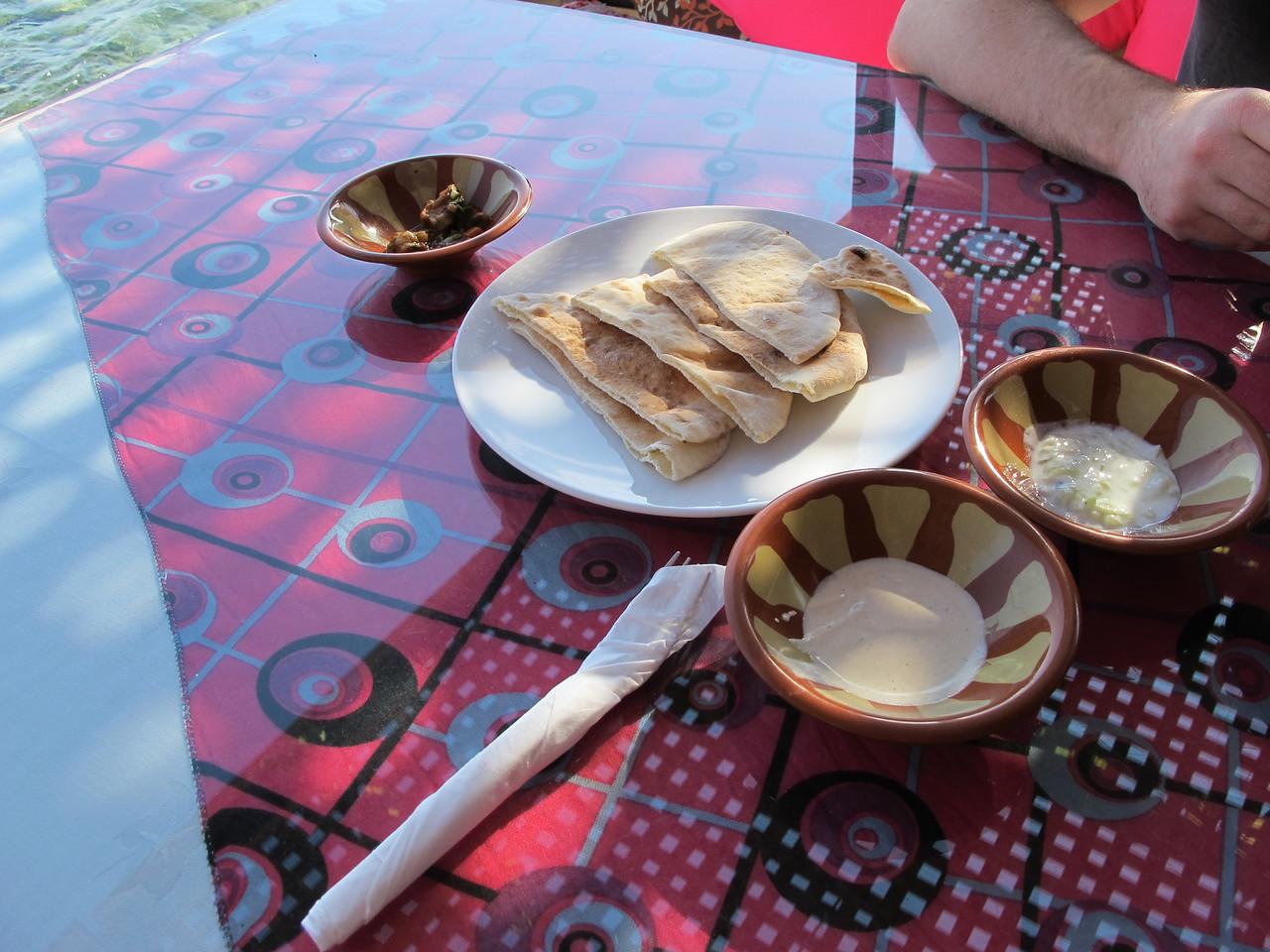 We started with fresh pita with tahini and yogurt sauce.
