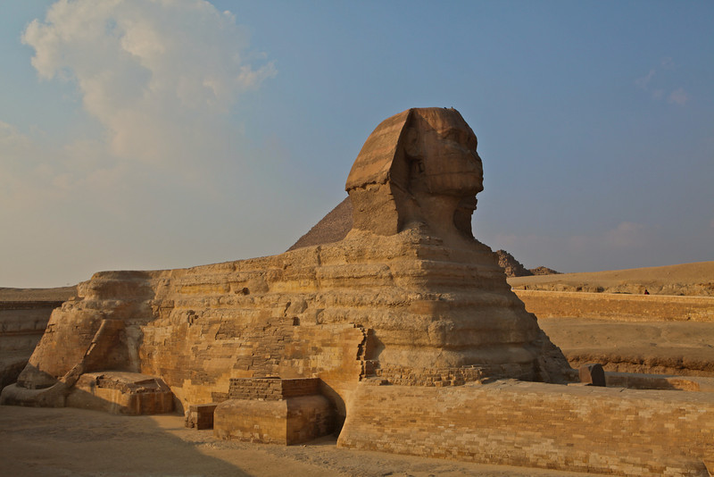 The Great Sphinx of Giza  is a limestone statue of a reclining or couchant sphinx (a mythical creature with a lion's body and a human head).