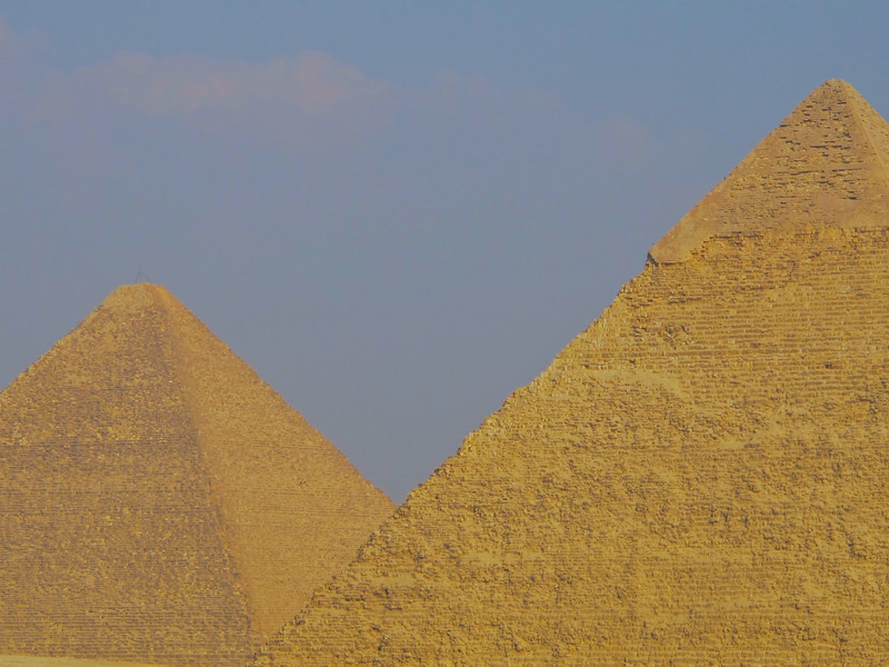 "The Great Pyramid consists of an estimated 2.3 million limestone blocks with most believed to have been transported from nearby quarries. The Tura limestone used for the casing was quarried across the river. The largest granite stones in the pyramid, found in the ""King's"" chamber, weigh 25 to 80 tonnes and were transported from Aswan, more than 500 miles away. It is estimated that 5.5 million tons of limestone, 8,000 tons of granite (imported from Aswan), and 500,000 tons of mortar were used in the construction of the Great Pyramid"