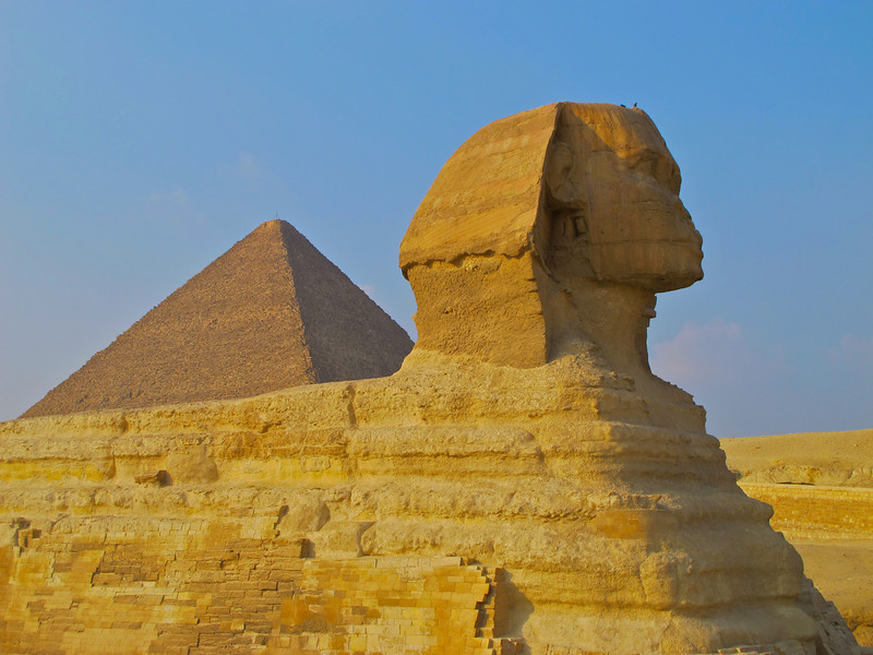 The one-metre-wide nose on the face is missing. Examination of the Sphinx's face shows that long rods or chisels were hammered into the nose, one down from the bridge and one beneath the nostril, then used to pry the nose off towards the south.