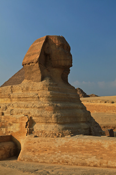 It is the largest monolith statue in the world, standing 73.5 metres (241 ft) long, 6 metres (20 ft) wide, and 20.22 m (66.34 ft) high.[1] It is the oldest known monumental sculpture, and is commonly believed to have been built during the reign of the pharaoh Khafra (2558–2532 BC)