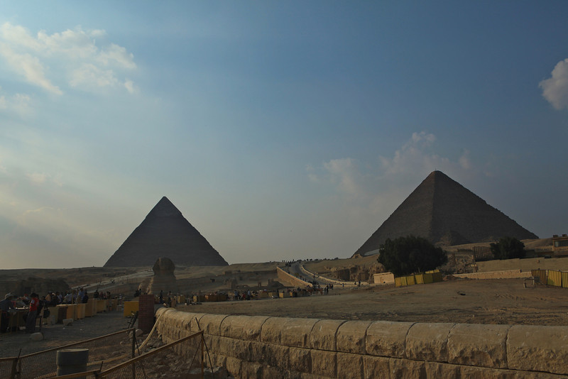 The sphinx is much smaller than it normally appears when seen against the backdrop of the pyramids.