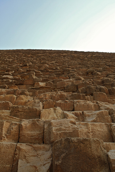 Looking up the side of the Great Pyramid.