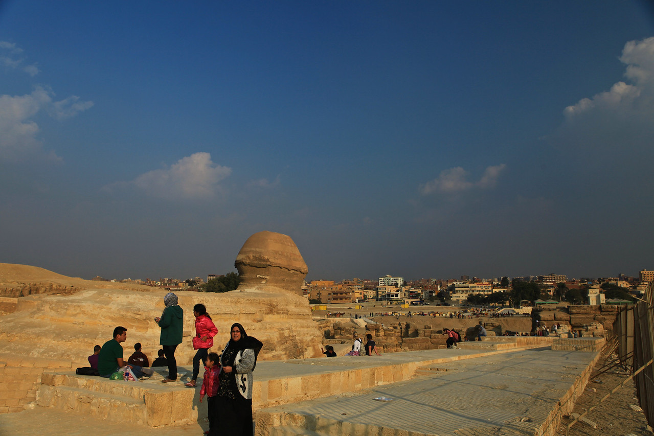 Looking at the sphinx from the rear towards the city of Giza.