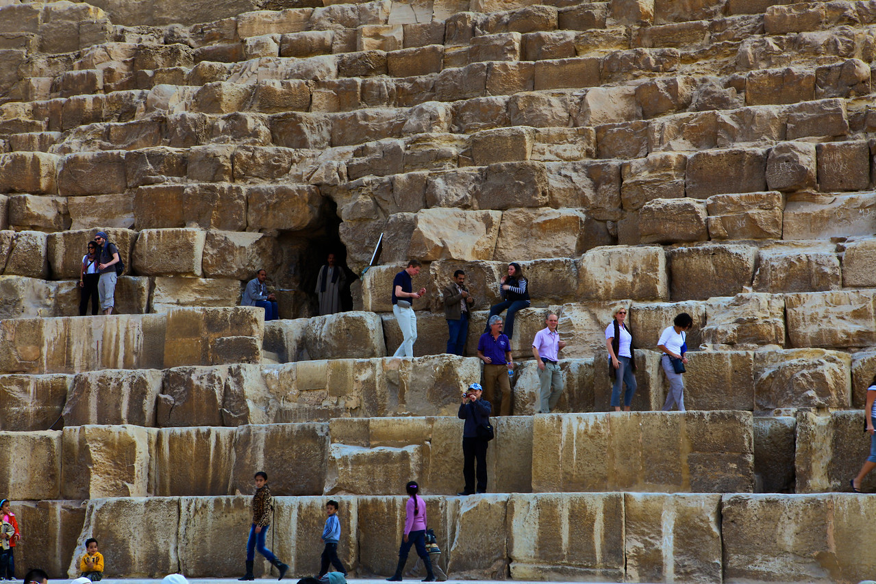 There are three known chambers inside . The lowest chamber is cut into the bedrock upon which the pyramid was built and was unfinished. The so-called Queen's Chamber and King's Chamber are higher up within the pyramid structure. This  is the only pyramid in Egypt known to contain both ascending and descending passages.  You are allowed up the ascending passage leading to the Queens Chamber.