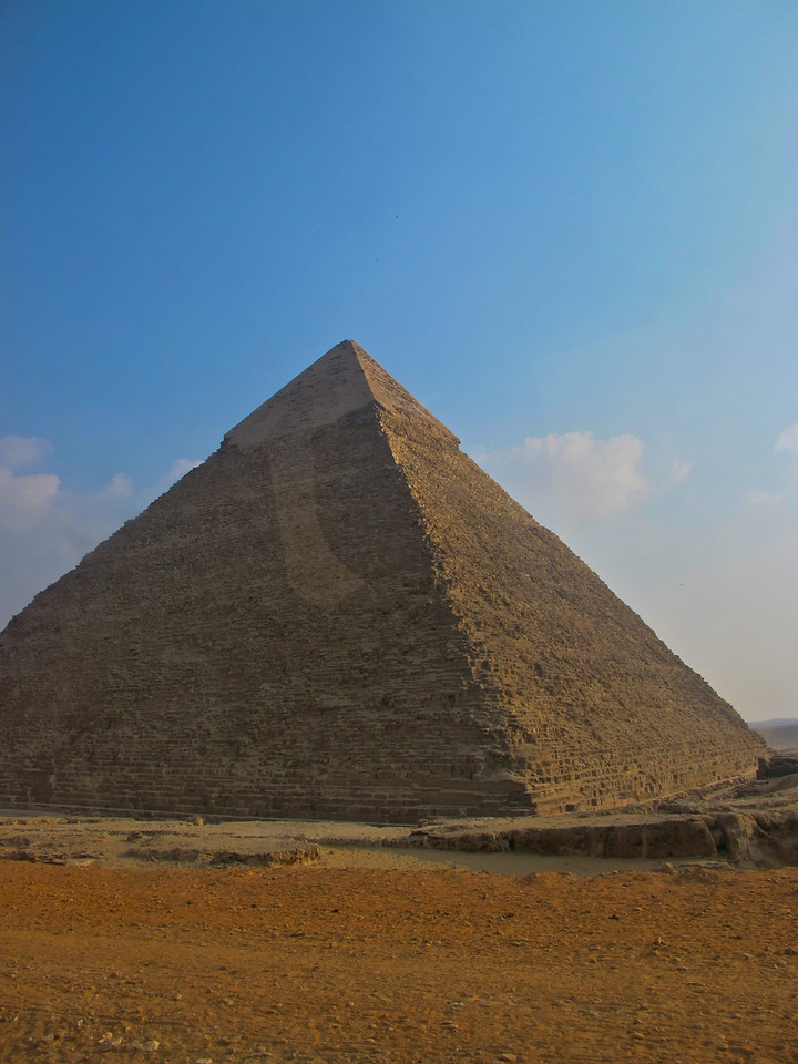 Traditionally, ancient Egyptians cut stone blocks by hammering wooden wedges into the stone which were then soaked with water. As the water was absorbed, the wedges expanded, causing the rock to crack. Once they were cut, they were carried by boat either up or down the Nile River to the pyramid.