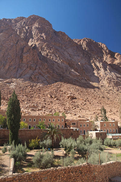 Saint Catherine's Monastery  lies at the mouth of a gorge at the foot of Mount Sinai. The monastery is Orthodox and is a UNESCO World Heritage Site.  This monastery is one of the oldest working Christian monasteries in the world together with the Monastery of Saint Anthony, situated across the Red Sea in the desert south of Cairo, which also lays claim to that title.<br /> <br /> This photo shows living quarters for those who stay for long visits or study at the monastery.